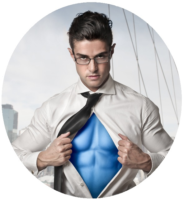 Project Management Superhero holding open his shirt