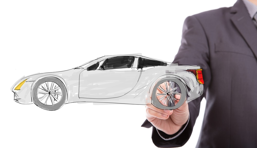 Man drawing sports car representing compliance matrix